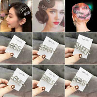 Women's Fashion Rhinestone Hair Clip Pin Pearl Crystal Letters Hairpin Barrettes