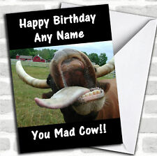 Mad Crazy Cow Birthday Customised Card
