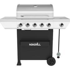 Stainless Steel 5-Burner Propane Gas BBQ Grill W/ Side Burner & Condiment Rack