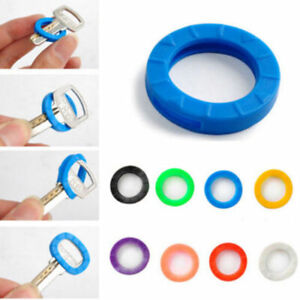 8PC Bright Colors Hollow Silicone Key Cap Covers Topper Keychain Keyring G0I7