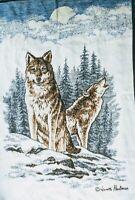 "Wolf Moon Biederlack Blanket Throw Lodge Cabin Reversible USA Made 81x56"" Large"