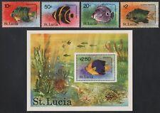 St. Lucia 1978 - Mi-Nr. 431-434 & Block 14 ** - MNH - Fische / Fish