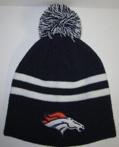 Denver Broncos Pom Pom Beanie ~Knit Cap ~Hat ~Classic NFL Patch/Logo ~Hot ~NEW