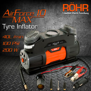 ROHR 12v Tyre Inflator - 100PSI 40L/Min Portable Air Compressor Airforce 10 Max