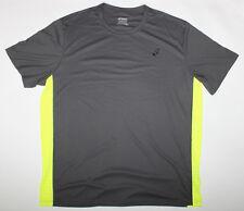 New Mens ASICS Charcoal Gray / Yellow Exercise Jogging Running Shirt - 2XL / XXL