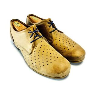John Fluevog Mens Radio Derby Shoes Tan Brown Leather Perforated Portugal 9.5