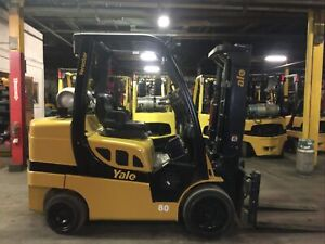 2014 Yale 8000 Lb Forklift With 2 Stage mast and Side Shift