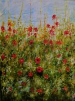Original oil and mixed media painting  signed by Nalan Laluk: Poppies Blow