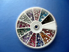 Mixed shaped coloured rhinestone wheel , diamontes crystals nail art glitter uk