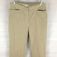 Jones Sport womens size 12 stretch solid beige flat front tapered corduroy pants