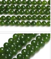 "6 8 10 12 14mm AA+ Genuine (Natural) Nephrite Jade Round Loose Beads 15"" Strand"
