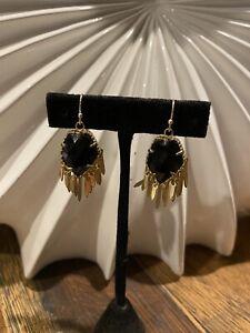 Kendra Scott Rare Black Onxy Gold Brandi Drop Earrings