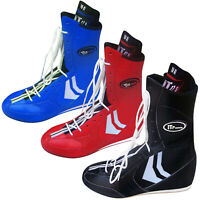 Leather Boxing Boots Boxing Shoes Light Weight Rubber Sole JUNIORS & ADULTS