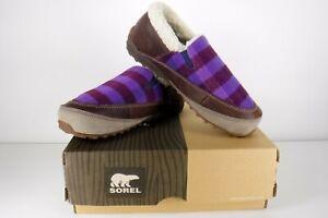 Sorel Mackenzie Snow Holiday Slip On Fleece Lined Shoes Womens 7.5 Purple Plaid