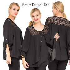 New Ladies Stunning Black Layered Top Plus Size 16/1XL (9734)JW