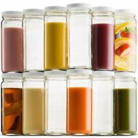 c01b12cb4856 16 Oz Empty Plastic Juice Bottles W Lids – 12 Pack LARGE Square ...