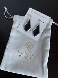 Kendra Scott Olivia Drop Earrings Silver Navy Dusted Glass NWT with Gift Pouch