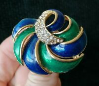Vintage Blue Green Enamel Rhinestone Abstract Leaf 1980s Gold Tone Pin Brooch