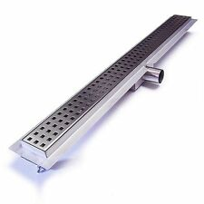 Stainless Steel Linear Shower Drain - Laser Cut Square Pattern - 900mm Long