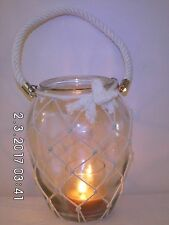 Large Glass Hanging Vase/Jar/Candle Holder with Rope Handle