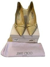 Jimmy Choo Pumps High Heel Shoes Gold Karung Glitter Size 6.5 Authentic EUC