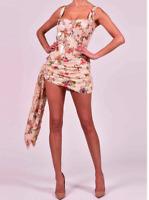 NEW FLORAL SEQUINS MINI DRESS FLORAL SEQUIN DRAPE BODYCON DRESS RUCHED DRESS