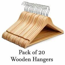 20 x Wooden Hangers Coat Suit Garments Clothes Trouser Bar Wood Hanger Set Boxed