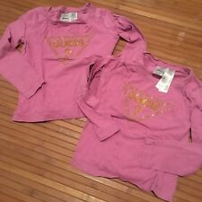 LOT SET TWINS Bling Shirts GUESS M 5 - 6 5T Girls Holiday Christmas Gift Pink