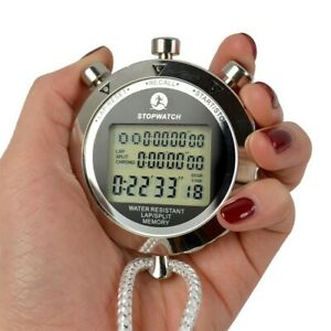 Antimagnetic Chronograph Metal Digital Timer Stopwatch Sports Counter Waterproof