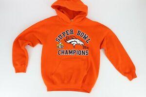 Gildan Heavy Blend Denver Broncos Hoodie Sweatshirt Size Youth Medium Orange