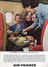 """1963 Air France Airlines """"...Fly to Italy..."""" Stewardess Serving Wine PRINT AD"""