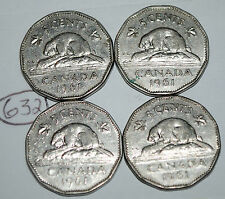 Canada 1961 x 4  5 Cents Canadian Nickel Lot #632