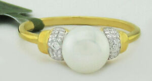 GENUINE 7 mm PEARL & WHITE SAPPHIRES RING .925 Silver * NWT * Size 6.5