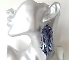 Gorgeous 8cm long shiny AB blue - purple petrol colour seed bead drop earrings