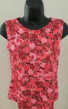 Women's L.L. Bean Pink Floral Printed Sleeveless Shelf Bra Athletic Top~Small