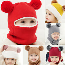 Fashion Children Winter Warm Knitted Hat Kid Baby Boy Girl Hooded Scarf Caps