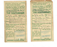 2 UNUSUAL 1948 COACH RESERVATION COUPONS! 'THE SOUTHERNER' COUPON USED IN CAL!