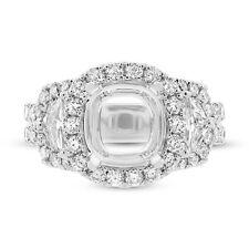 9x9mm Semi Mount 18K White Gold Shield Cut Diamond Engagement Ring Setting F VS2
