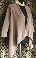 AUGUST SILK Mocha Brown Open Cardigan Sweater Sz M longer Sides 3/4 Sleeve Shrug