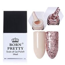 2 Bottles 10ml Soak Off UV Gel Polish Nail Art Nude Glitter Gel Born Pretty New