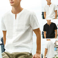 100%Cotton Men's Short Sleeve T-shirt V Neck Tee Tops Casual Beach Summer Blouse