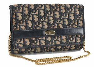 Auth Christian Dior Trotter Chain Shoulder Bag Canvas Leather Blue CD Junk E2673
