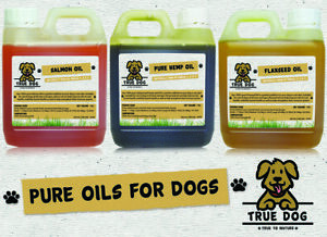 Pure Oils for dogs 1 litre - Hemp Oil, Salmon Oil or Flaxseed Oil - 1000ml