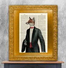 Old Antique Book page Art Print - Tuxedo Fox  Steampunk Wall Art Dictionary Page