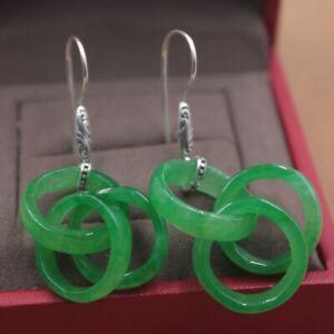 Solid 925 Sterling Silver Dangle Earrings Natural Jade Circle Earrings 52mmH