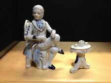 Collectible Vintage Rare Figurine Victorian man at a table  fine  porcelain