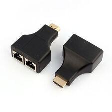 HDMI Dual Porta RJ45 Rete Cavo Estensore Sopra by Cat 5e / 6 1080p Nero PRO  HOT