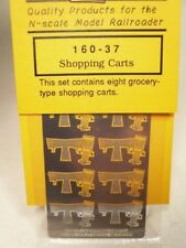 """Gold Medal Models """"N"""" Etched Metal Grocery Shopping Carts (x8) 1:160 #160-37"""
