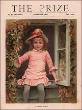 Girl Sitting in the Window, antique chromolithograph, original 1890