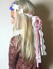 Blue Pink Ivory Flower Crown Vintage Lace Hair Head Band Choochie Hippy Boho